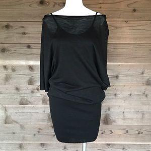 Miilla Clothing Dresses - Miilla Black Knit Linen-Blend Cowl Neck Dress Sz L